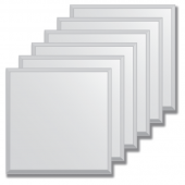 Зеркальная плитка с фацетом 10 мм (серебро) (квадрат 15х15 см) - комплект 6 шт.