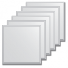 Зеркальная плитка с фацетом 15 мм (серебро) (квадрат 40х40 см) - комплект 6 шт.