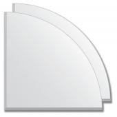 Зеркальная плитка с фацетом 5 мм (серебро) (четверть круга 30х30 см) - комплект 2 шт.