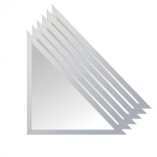 Зеркальная плитка с фацетом 15 мм (серебро) (треугольник 50х50 см) - комплект 6 шт.