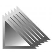 Зеркальная плитка с фацетом 10 мм (графит) (треугольник 15х15 см) - комплект 6 шт.